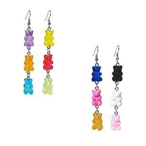 Jewelry - 2 Pairs of Colorful Dangle Gummy Bear Earrings NWT